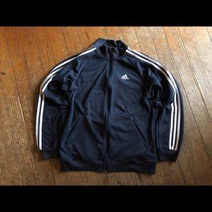 Black and white adidas zip up light jacket LG L